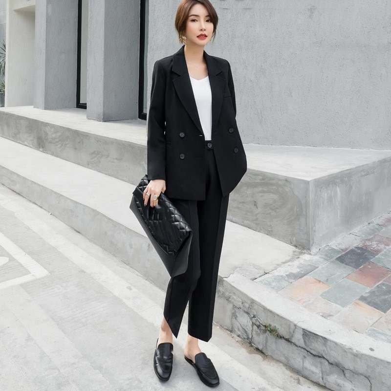 Vintage Black Women Suits Double Breasted Female Pant Suits Notched Blazer Jacket & Pencil Pant Casual 2 Pieces Set