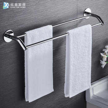 Bathroom Towel Holder Stainless Steel Double Bar Towel Rack Wall Mounted Kitchen Towel Shelf Kitchen Bathroom Accessories