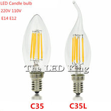 C35 c35l 6w 12 led edison lâmpada do vintage lâmpada led 220v 240v retro led filamento luz e14 vela lâmpada luz substituir incandescente