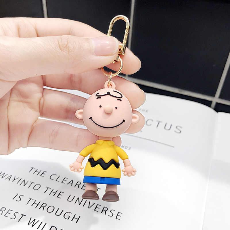 Nuevo 2019 hombre y mujer llavero Charly marrón dibujos animados maní muñecas Accesorios de escritorio/llave/bolsa figura traviesa dar un regalo