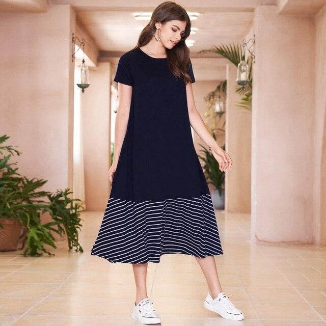 Blue Striped College Style Midi Dress