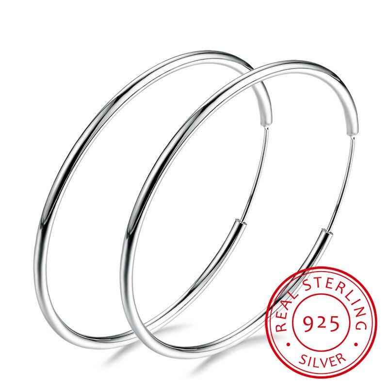 Women 100% 925 Sterling Silver Hoop Earring Round Circle Loop Gifts Box Packing Simple Silver Hoop Earrings Piercing