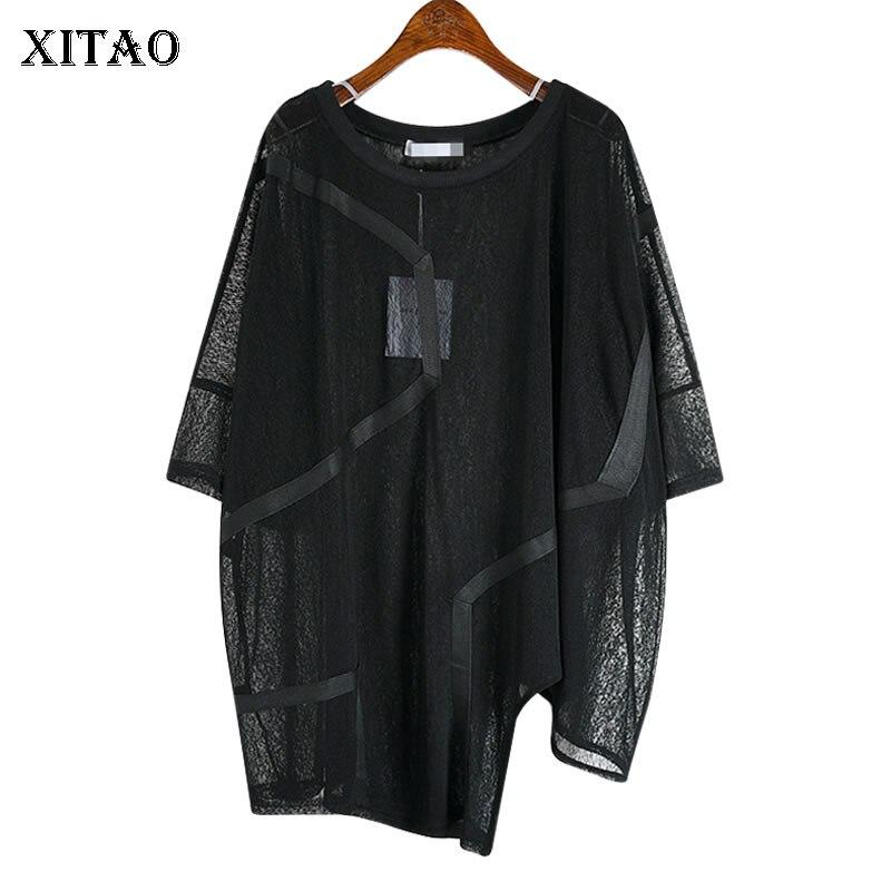 XITAO Irregular Sexy T Shirt Women Fashion Thin White Black Pullover Goddess Fan Casual Style Loose Minority Tee Top DZL1184 1
