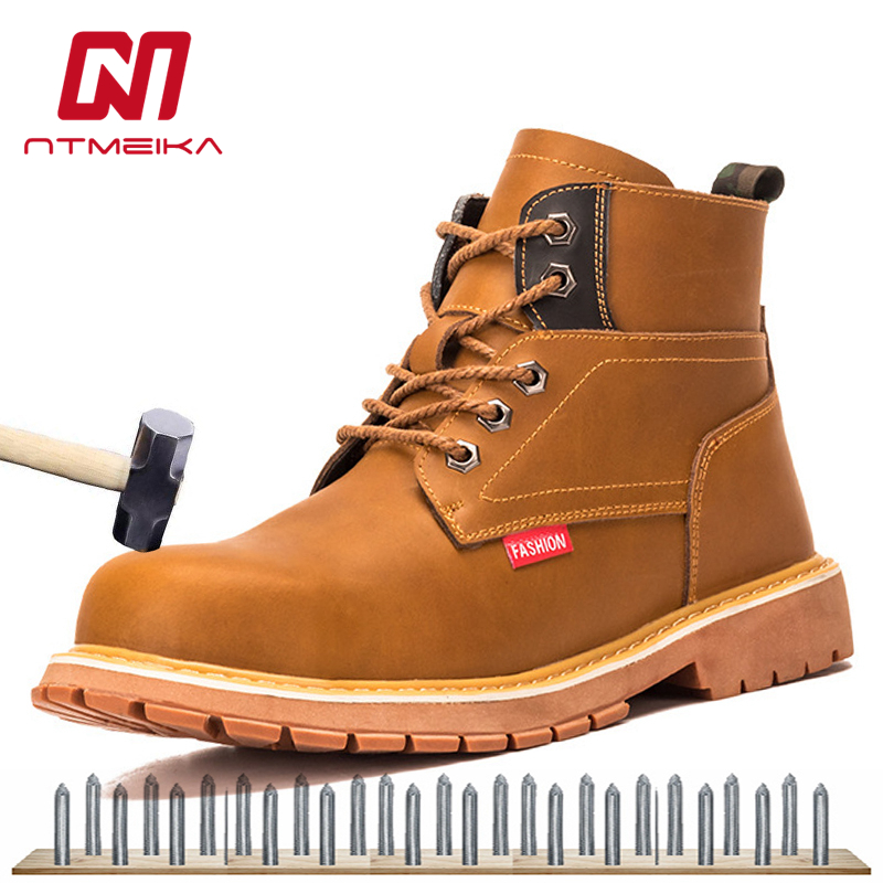 Men Yellow Genuine Leather Work Boots Work Safety Shoes Steel Toe Breathable Waterproof Boots Men Plus Size 38-48 image
