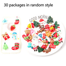 30pcs Cute Random Styles Craft DIY Cartoon Phone Case Resin Jewelry Accessory Slime Beads Decoration Christmas Series Cabochon(China)