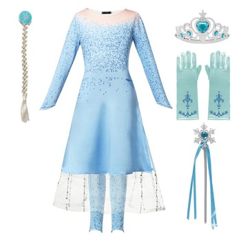 VOGUEON Girls New Elsa 2 Blue Princess Dress Up Long Sleeve Snow Queen Dress and Down 2 Packs Halloween Christmas Party Costume