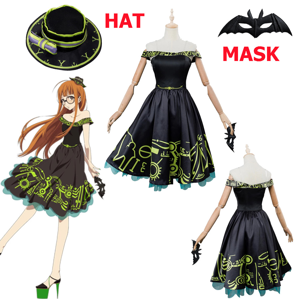Persona 5 P5 Futaba Sakura Masquerade Party Costume Cosplay Dress Gown Suit New