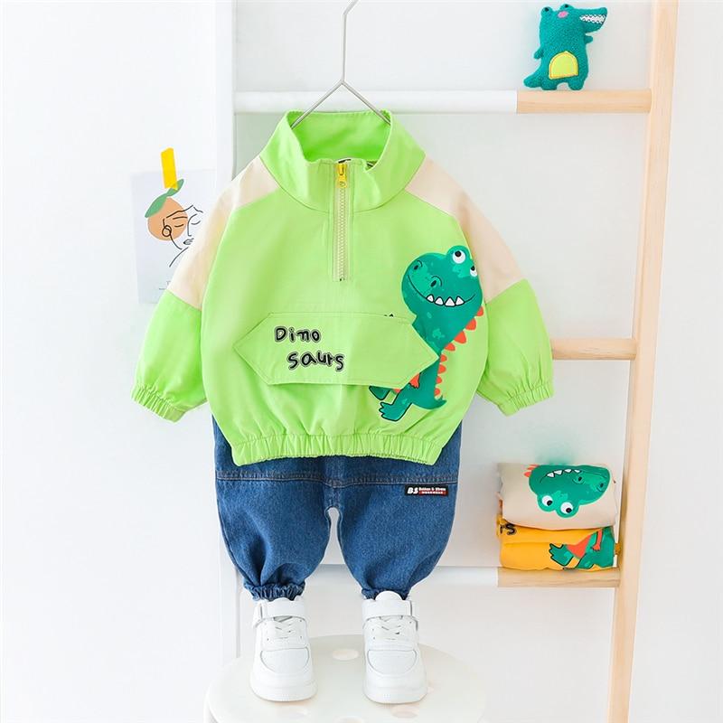 HYLKIDHUOSE 2020 Spring Toddler Infant Clothing Sets Baby Girls Boys Clothes Cartoon Dinosaur T Shirt Jeans Children Clothing