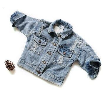Nueva ropa de primavera Otoño, chaqueta para niños, chaqueta para niñas con agujeros rasgados, abrigos vaqueros para niños, abrigos Demin, prendas de vestir exteriores para niñas, traje 24M-7Y