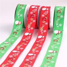 Christmas ribbon 2.5cm width x 9m length Ribbon Handmade Design Printed For Decoration DIY Gift Packaging Red Green