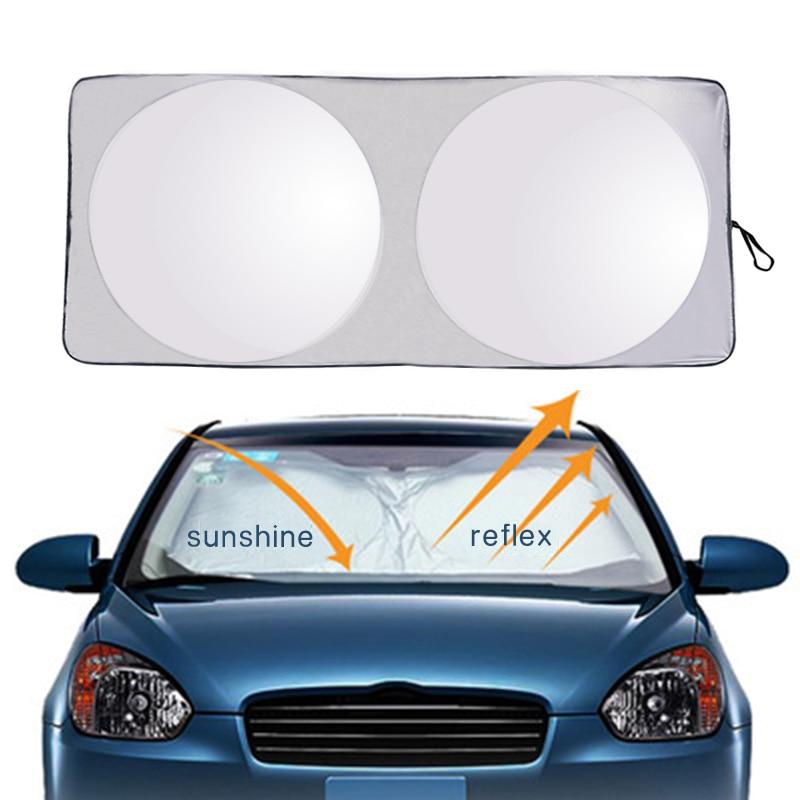 Car Styling Folding Jumbo Front Rear Car Window Sun Shade Auto Visor Windshield Block Cover Car Windshield Sunshade 150*70CM
