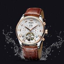 Оригинальные KINYUED, Tourbillon многофункциональные автоматические мужские механические часы, водонепроницаемые мужские часы