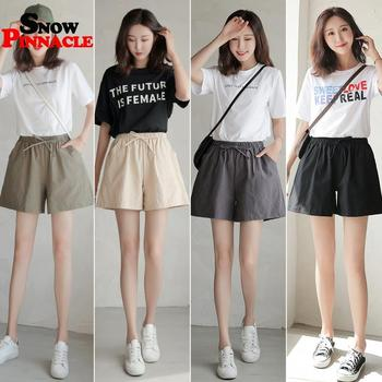 Women shorts Summer Casual Solid Cotton Linen shorts high waist loose shorts for girls Soft Cool female short S-XL