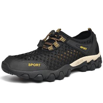 Czarne buty do wody męskie odkryte buty z palcami letnie pływanie Aqua Beach nadmorskie trampki męskie skarpetki kapcie nowe buty rybackie tanie i dobre opinie HIKEUP CN (pochodzenie) Dobrze pasuje do rozmiaru wybierz swój normalny rozmiar Spring2019 elastyczna opaska Profesjonalne