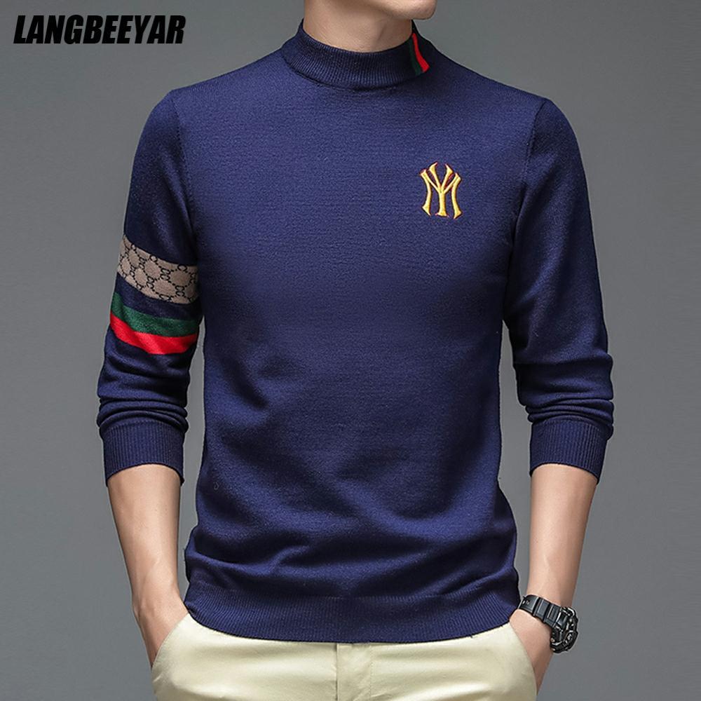 Top Grade New Autum Winter Designer Fashion Brand Luxury Knit Half Turtleneck Men Warm Woolen Sweater Casual Mens Clothing 2021 1
