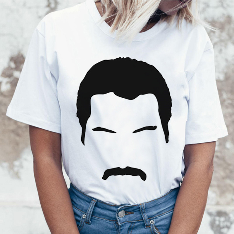 Luslos Women's Freddie Mercury The Queen Band T-Shirt Womens Hip Hop Rock Hipster T Shirt Casual Shirts Harajuku Top Femme Tees