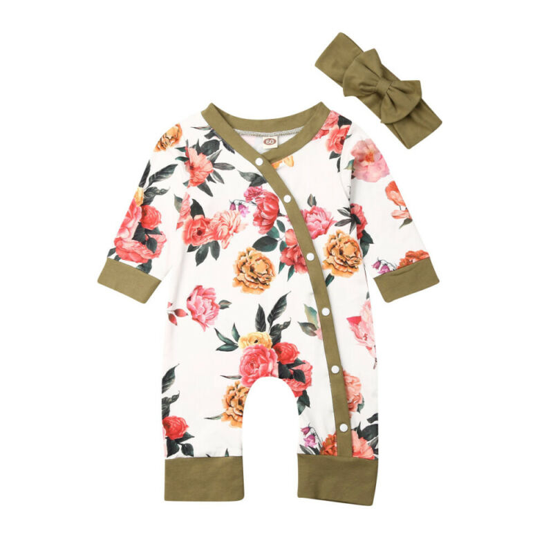 Newborn Baby Girl 2PCS Autumn Clothes Set Flower Romper Bodysuit Jumpsuit Outfit