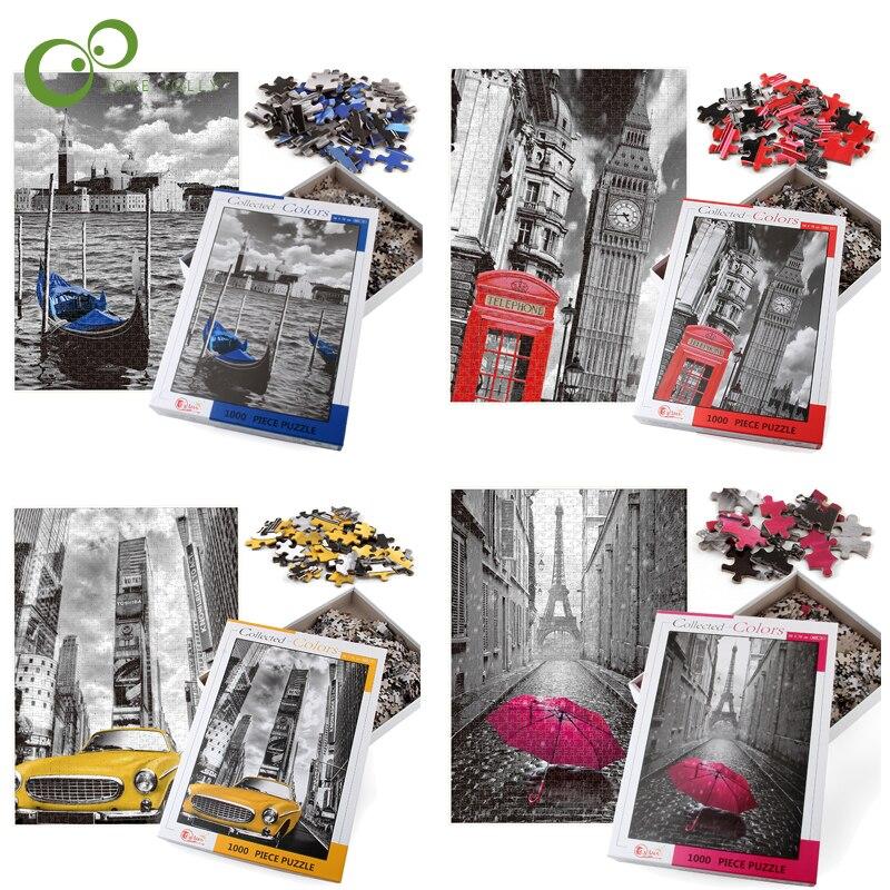 70*50cm 지그 소 퍼즐 1000 조각 조립 그림 풍경 퍼즐 성인을위한 장난감 어린이 게임 교육 완구 GYH