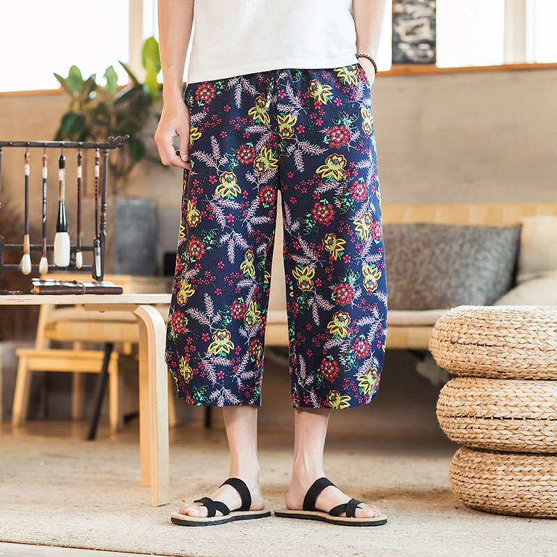 Cotton Linen Summer New Style 2019 Men's Floral Casual Wide Leg Pants Cropped Trousers For Men Printed Pants