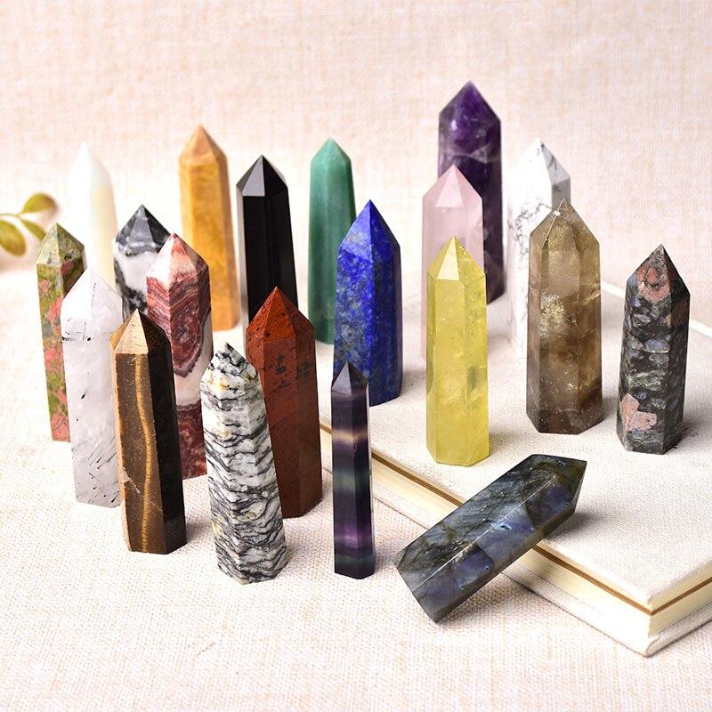 26 renk doğal taşlar kristal noktası değnek ametist gül kuvars şifa taşı enerji cevheri Mineral el sanatları ev dekorasyon 1 adet