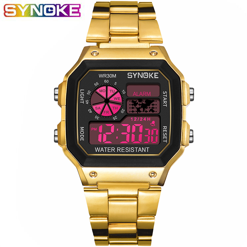 SYNOKE LED Digital Wristwatch Golden Wrist Watch Life Waterproof Women Men Montre Reloj Relogio Business Clock Sport Watch