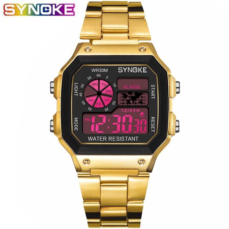 SYNOKE LED Digital Wristwatch Golden Wrist Watch Life Waterproof Women Men Montre Reloj Relogio Business Clock Sport Watch