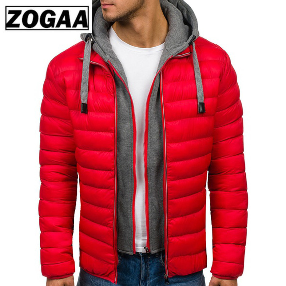 ZOGAA Men Jacket Coats Thicken Warm Winter Windproof Jackets Hooded Outwear Cotton-padded Jacket Zipper Hip Hop Cotton Hooded