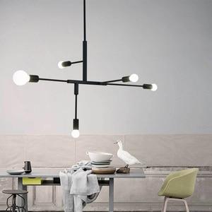 Image 3 - 現代北欧ペンダントライトブラックゴールドペンダントランプ 2 4 5 6 ヘッドE27 ledライト電球ランプホーム装飾照明ランプ
