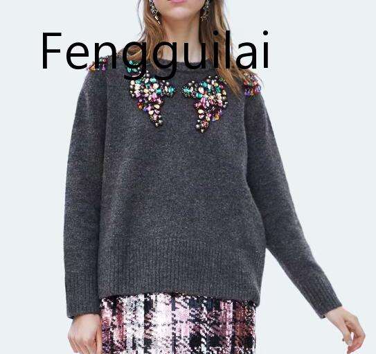 FENGGUILAI High Quality  Autumn And Winter Round Neck Luxury Diamond Beaded Knitting Sweater Women Knit Pullovers