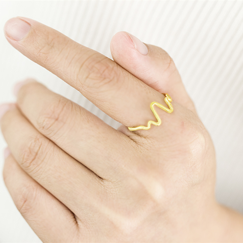 Geometric Wave Rings For Women Men Anillos Mujer Gold Silver Ring Anelli Jewelry Accessories Bijoux Femme Bridesmaid Gifts in Rings from Jewelry Accessories