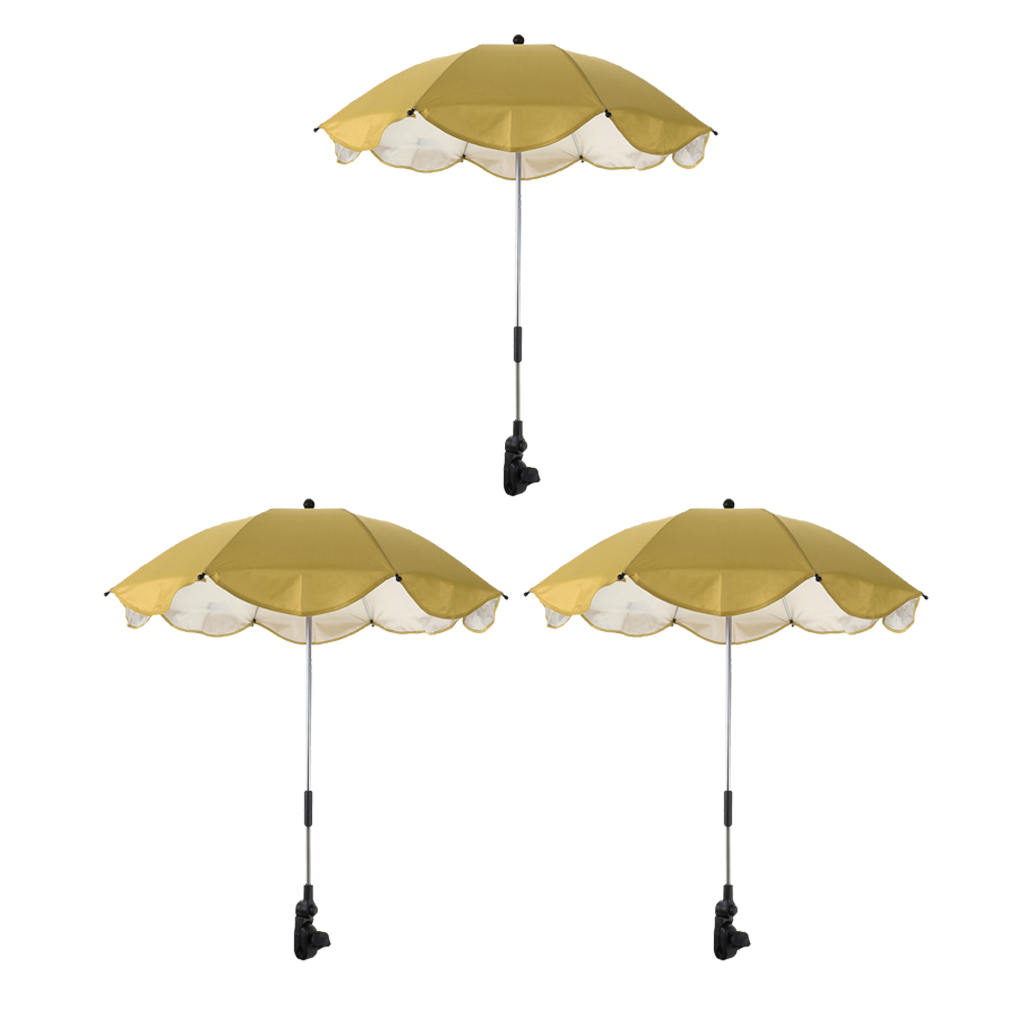 3pcs Sun And Rain Canopy Umbrella Outdoor Beach Parasol With Adjustable Firm Clamp For Swimming Pool
