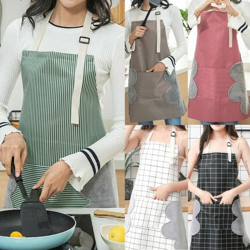 Women Floral Waterproof Kitchen Bib Aprons Chef Cooking Baking Restaurant Apron