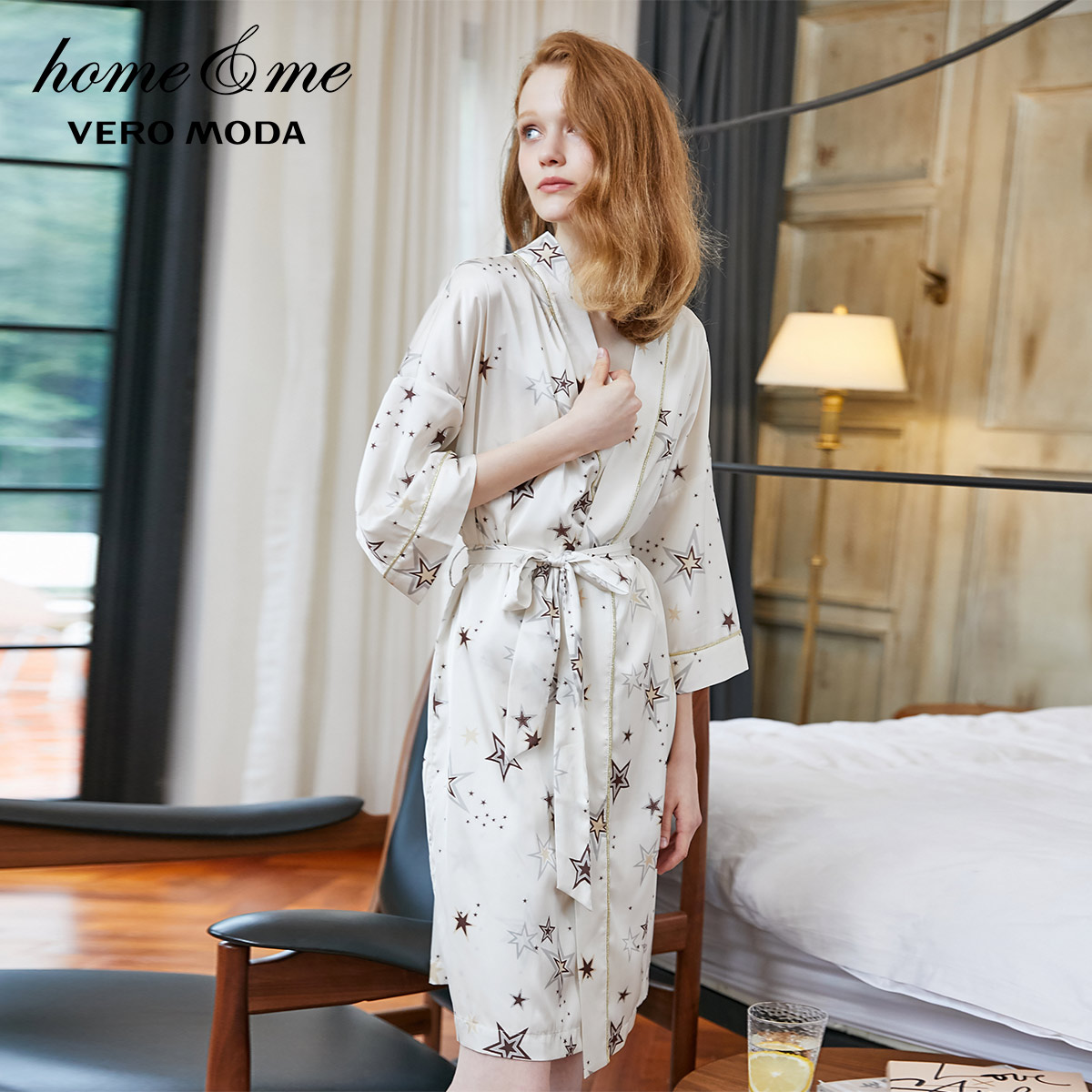 Vero Moda New Women's Star Print 3/4 Drop-shoulder Sleeves Silky Night Robe | 3193R1502