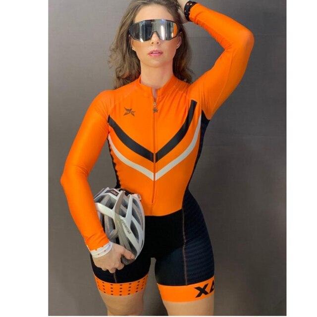 Xama ciclismo verão manga longa das mulheres ciclismo macacão bicicleta wear roupa ciclismo go pro bicicleta sportwear triathlon skinsuit 2