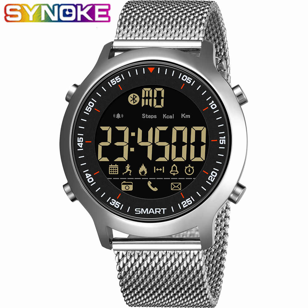 SYNOKE Smart Watch Men Run Pedometer Diving Outdoor Sports Watches 30M Waterproof LED Digital Wristwatch IOS Android  Clock Male