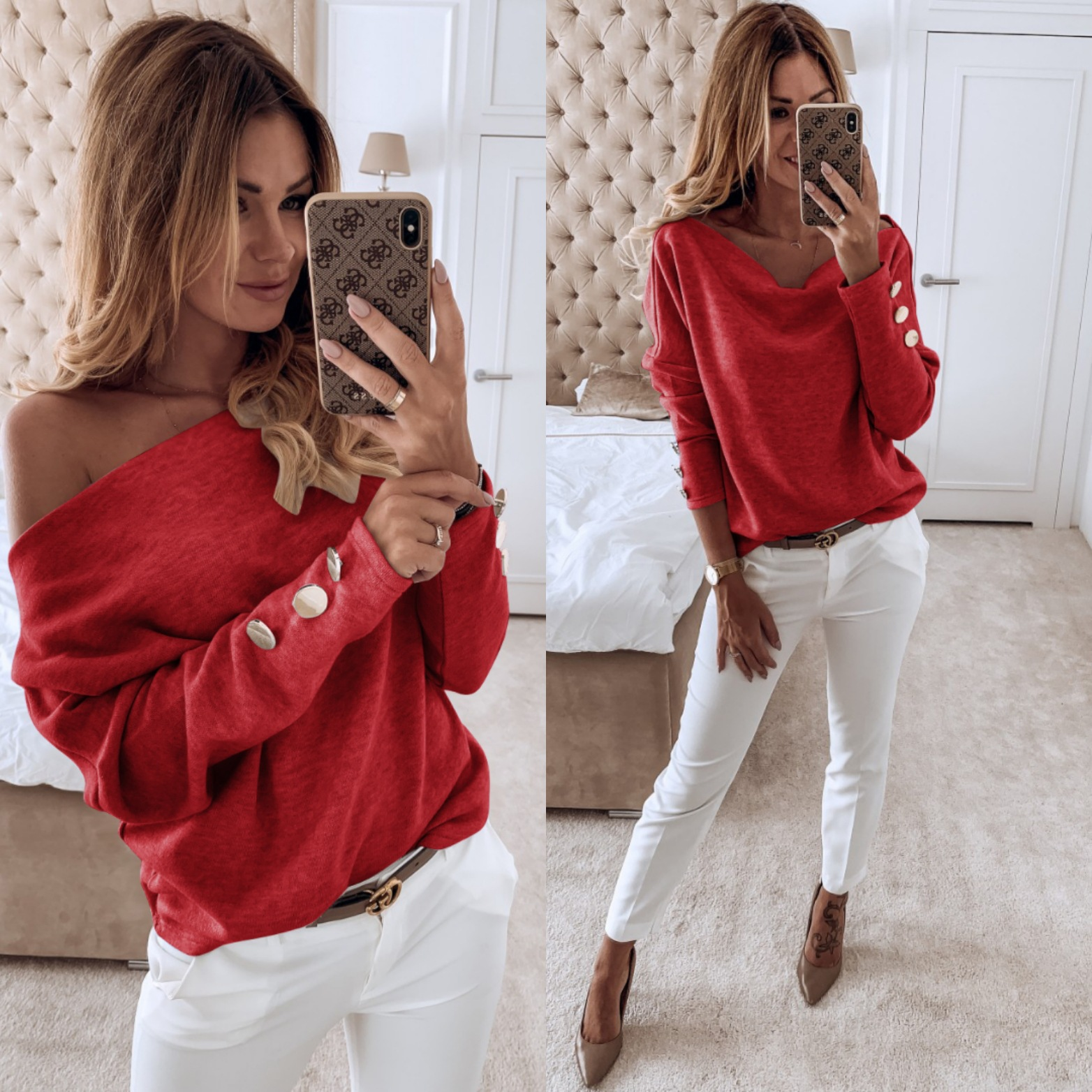 Knitted Basic Off Shoulder Sweater Women Loose Solid Tops Autumn Winter Long Sleeve Button Fashion Pullover Jersey Mujer Pull XL