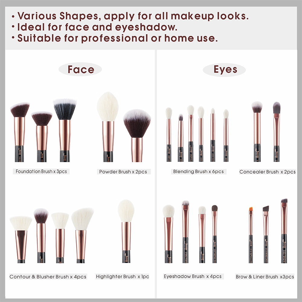 Image 4 - Jessup Beauty 25pcs Makeup Brushes Set maquiagem profissional completa Foundation Eyeshadow Contour Highlighter Brushes T155-in Eye Shadow Applicator from Beauty & Health