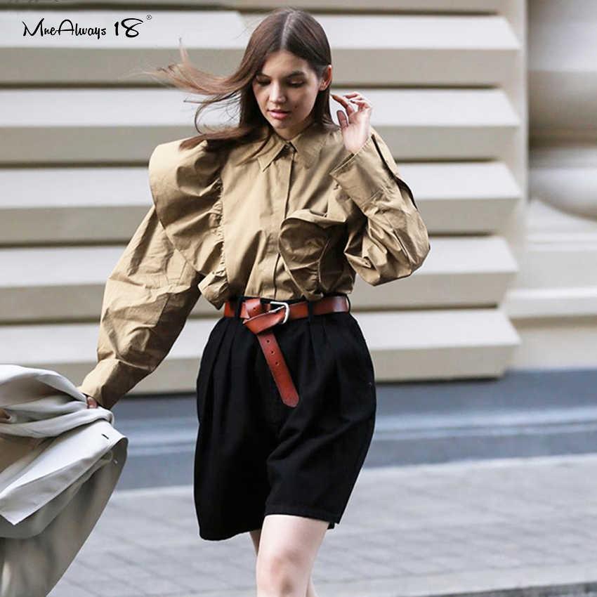 Mnealways18 falbana w stylu Vintage bluzka damska z długim rękawem Casual Frill Top Khaki przycisk bawełniane koszule damskie bluzka biurowa wiosna 2020