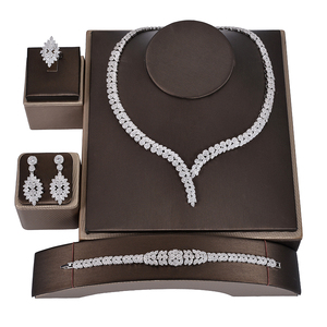Image 2 - תכשיטי סט HADIYANA קסם שרשרת עגילי טבעת צמיד מתנת כלה חתונה אלגנטית לנשים באיכות גבוהה CNY0046 Bisuteria