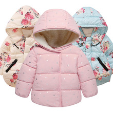 Autumn Winter Baby Outerwear Infants Girls Hooded Printed Pr