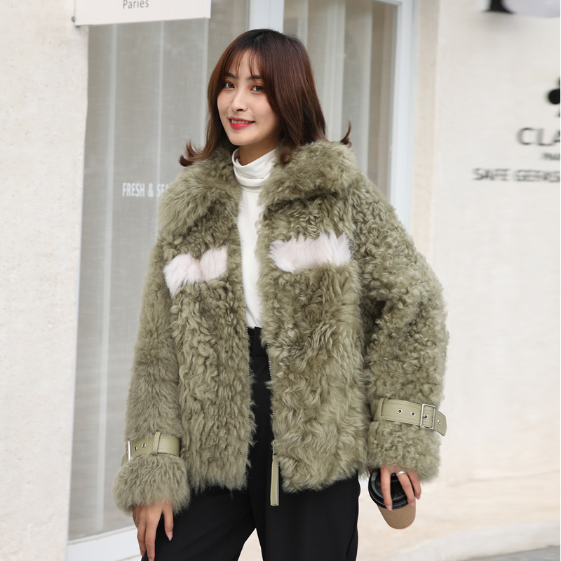 Natural Real Fur Coat Female Streetwear 100% Wool Jacket Women Clothes 2020 Korean Vintage Double Faced Fur Tops Overcoat 20393