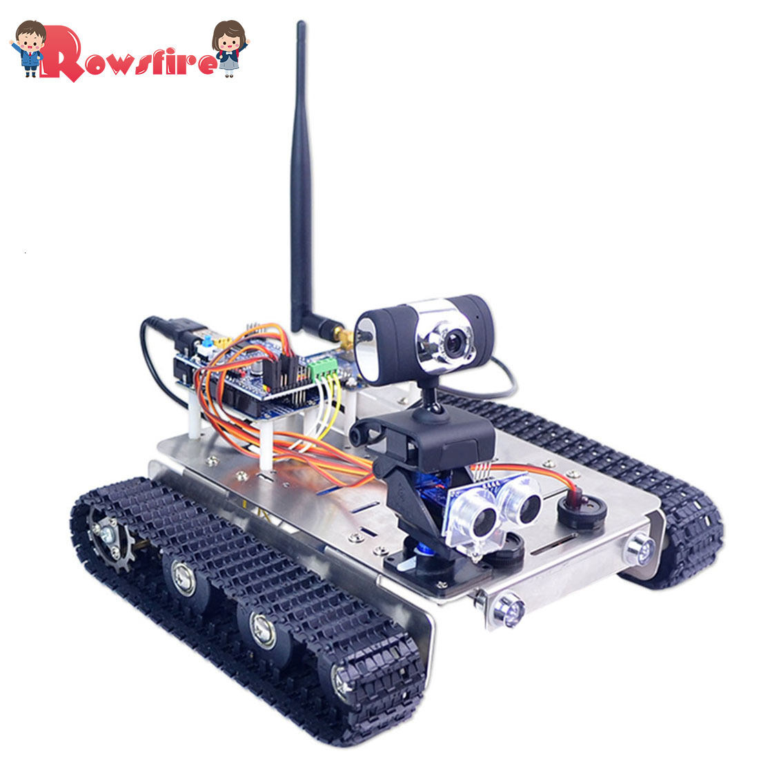 Free Programmable Robot DIY Wifi Stainless Steel Chassis Track Tank Car With Graphic Programming XR BLOCK Linux Standard Version