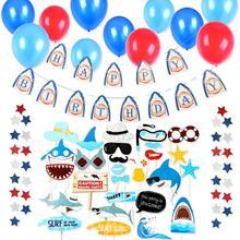 Shark Birthday Set Happy Banner Photo Booth Props Submarine World Ocean Sea Theme Party Boy Decor