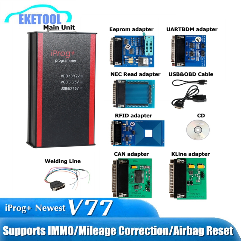 Newest V77 iPROG+ Prog Programmer iProg Supports IMMO/Mileage Correction/Airbag Reset Replace Carprog/Digiprog/Tango CAN/Kline-in Air Bag Scan Tools & Simulators from Automobiles & Motorcycles