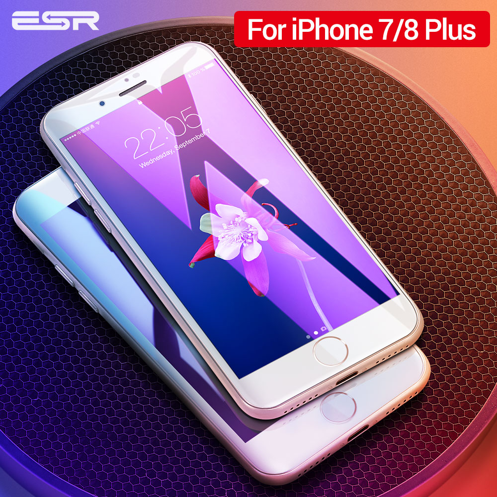 ESR Screen Protector For IPhone 7 8 Plus White Black Full Coverage Shockproof Clear Tempered Glass Film For IPhone8 8Plus 7Plus