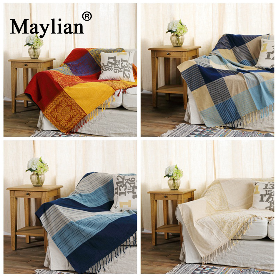 US $26.24 51% OFF|10 colors Cotton Bohemian Chenille Plaids Blanket Sofa  Decorative Throws on Sofa/Bed large Cobertor Blanket With Tassel T276-in ...