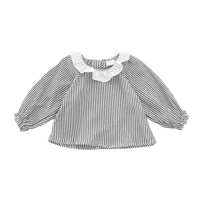 Рубашка для маленьких девочек хлопковая рубашка с воротником в виде листьев лотоса рубашка в полоску Осенняя рубашка с длинными рукавами д...