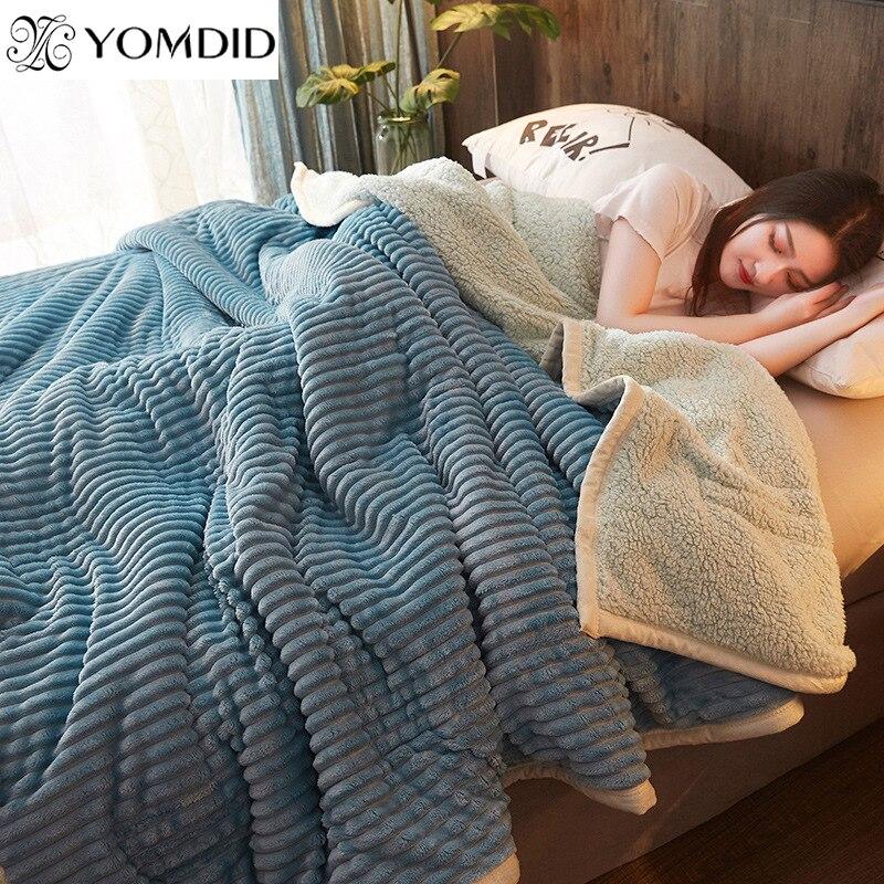 Yomdid трехслойное одеяло плед полосатые одеяла утолщенное одеяло спальня Двухслойное Фланелевое зимнее сон одеяло mantas de cama