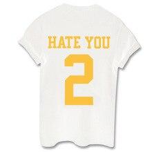 Femme Girls Camiseta Mujer Tops Streetwear Short Sleeve T Shirt Plus Size 4XL T Shirt Women HATE YOU 2 Letter Printed Tee Shirt цена и фото