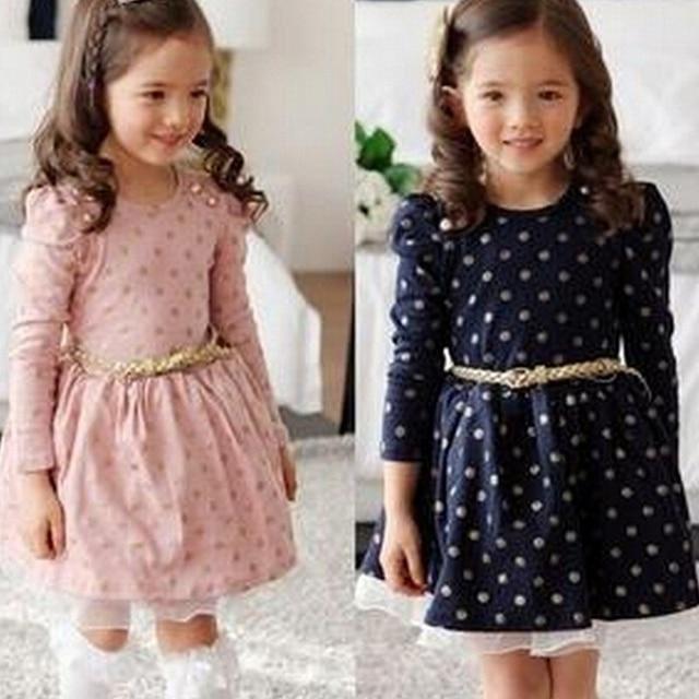 Children Cotton Long Sleeve Dress Autumn Polka Dot Dress For Princess Party Clothing Winter Girls Lace Dress Kids Casual Wear